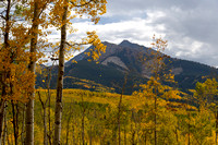 Aspen Leaves Fall Before Chair Mountain
